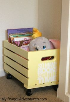 Easy DIY Toy Storage Crate or for even in the family room for magazines and books!