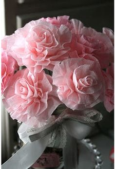 crepe paper flowers by Vicki Chrisman, I love her creations, she also is a designer for Crafty Secrets!