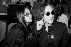John Lennon and girlfriend May Pang at the Beacon Theatre for SGT. Peppers Lonely Hearts Club Band on November 17, 1974 in New York.