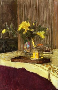 Bouquet of Mimosa on a Table Edouard Vuillard - 1938 Pierre Bonnard, Edouard Vuillard, Beaux Arts Paris, Art Populaire, Painting Gallery, French Artists, Painting & Drawing, Flower Art, Illustration