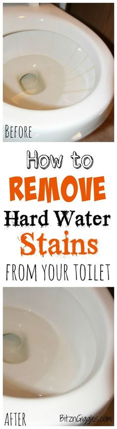 How to Remove Hard Water Stains From Your Toilet - A safe. effective and natural way to remove hard water stains from your toilet without any harsh chemicals. It literally takes minutes and leaves your toilet bowl clean and sparkly like it was when you purchased it! #bathroomcleaning