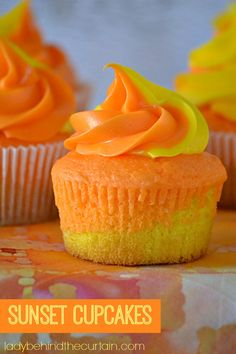 These beautiful Sunset Cupcakes are not only pretty to look at much like a sunset, they are tasty too. With a layer of lemon cake and a layer of orange.