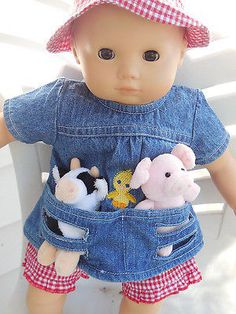 """15"""" American Girl Bitty Twin or Baby Farmer Outfit with Calf & Piglet"""