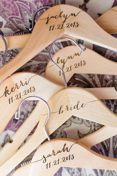 Custom engraved wooden hangers for the wedding bridal party. We offer personalized hangers for the bride, groom, bridesmaids, and the entire wedding party. Thes