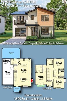 Modern House Plan 623038DJ gives you 1500 square feet of living space with 3 bedrooms and 2.5 baths. AD House Plan #623038DJ #adhouseplans #architecturaldesigns #houseplans #homeplans #floorplans #homeplan #floorplan #houseplan House Layout Plans, Craftsman House Plans, Modern House Plans, House Layouts, Plumbing Drawing, Jack And Jill Bathroom, Cost To Build, Cedar Siding, Roof Detail