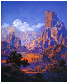 Arizona by Maxfield Parrish, 1950. Oil on panel, 20 1/2 x 17″