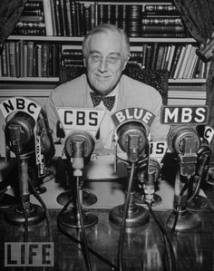 Franklin Delano Roosevelt - 32nd President of the United States - broadcasts a speech from the White House in 1944.