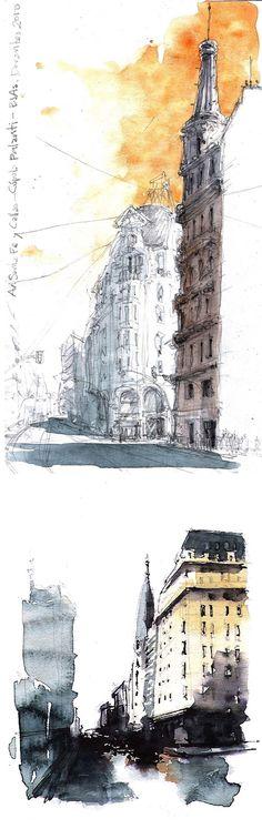 Callao Avenue, Buenos Aires, Argentina #urban #sketch #watercolor http://www.urbansketchers.org/2010/09/tango-and-avenue.html