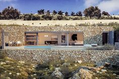 Santorini Villa is Cave Dwelling You'd Be Comfortable With Greece Architecture, Contemporary Architecture, Architecture Design, Building Facade, Building Design, Santorini Villas, Modern Villa Design, Underground Homes, Earth Homes