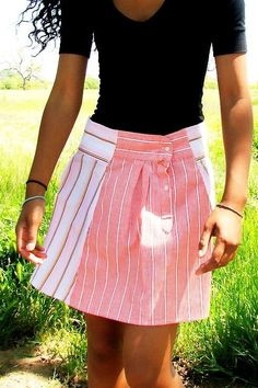 skirt made from men's shirt sleeves -- cute idea and live the cut!