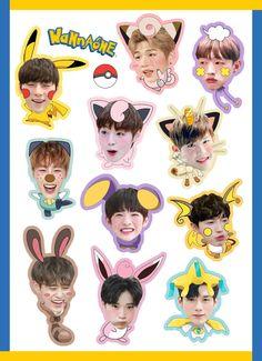 Wanna One ! Tumblr Stickers, Cute Stickers, Phone Stickers, Jaehwan Wanna One, Kpop Logos, Fanart, Ong Seung Woo, One Logo, Kpop Merch