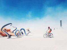 A burner rolling by a playa octopus. = Magical. :') #burningman #art #life #travel #love