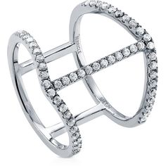 BERRICLE BERRICLE Sterling Silver 0.52 ct.tw CZ Open Bar Fashion Right... ($40) ❤ liked on Polyvore featuring jewelry, rings, clear, women's accessories, sterling silver rings, band rings, cz jewelry, band jewelry and cocktail rings