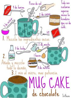 { IriHouse }: { Dibu-Recetas } Microwave Recipes, Kitchen Recipes, Baking Recipes, Food Journal, Recipe Journal, My Dessert, Food Drawing, Food Illustrations, Food Design