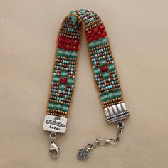"""Adonnah Langer hand weaves beads in vibrant hues on her Lilliputian loom. Sterling silver end caps, lobster clasp. Exclusive. Made in USA. 6-1/2""""..."""