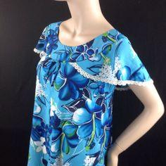 Vtg Reef Hawaii Bold Blue Hawaiian Aloha Maxi Dress Butterfly Sleeve Lace Trim S