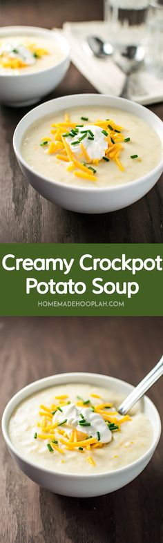 Creamy Crockpot Potato Soup! Thick, creamy, and flavorful potato soup made the easy way: right in your crock pot. | HomemadeHooplah.com