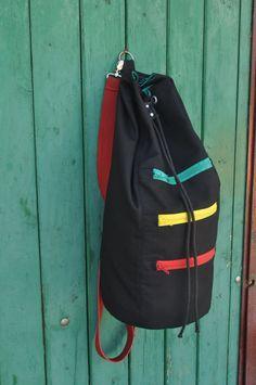 RASTA SAILOR BAG/ backpack. Black sturdy cotton fabric sailor bag. Summer bag for men.Sports bag.Gym bag.