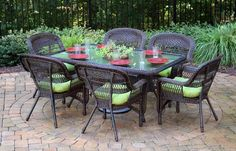 Portside 7 Piece Dining Set Finish: Dark Roast, Fabric: Monti Leaf *** Thanks for seeing our image. (This is our affiliate link) Wicker Dining Set, Outdoor Dining Set, Outdoor Decor, Dining Sets, Dining Arm Chair, Patio Dining, Outdoor Living Furniture, Patio Furniture Sets, Rectangle Dining Table