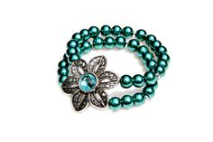 Hey, I found this really awesome Etsy listing at https://www.etsy.com/listing/191747636/flower-bracelet-pearl-bracelet-teal