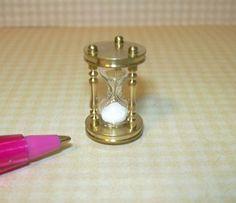 Miniature Working Brass Hour Glass w/Sand for DOLLHOUSE Miniatures 1/12 Scale