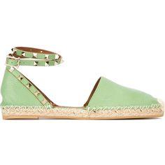 Valentino Garavani 'Rockstud' espadrilles ($785) ❤ liked on Polyvore featuring shoes, sandals, green, braided sandals, ankle strap sandals, valentino shoes, woven shoes and espadrilles shoes