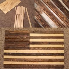 American flag made out of wood. used liquid nails and clamps. Stenciled and painted the stars American flag made out of wood. 31 used liquid nails and clamps. Stenciled and painted the stars Reclaimed Wood Projects, Diy Wood Projects, Wood Crafts, Diy Crafts, Wooden Flag, Wooden Diy, Ana White, American Flag Art, American Flag Pallet
