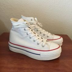 Platform High Top Converse Platform converse in white. Used twice VERY clean. Size 3 in converse, will fit a 5-5.5. PRICE REFLECTS SHOE CONDITION. Converse Shoes Sneakers