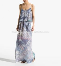 2016 New Style Print Sleeveless Long Dress