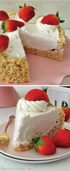 Rice Krispy Treat No-Bake Strawberry Cheesecake There is more than one way to enjoy your favorite breakfast cereal. Strawberry Cheesecake, Cheesecake Recipes, Strawberry Jam, Rice Krispie Treats, Rice Krispies, Cookie Cake Pie, Snack Recipes, Dessert Recipes, Baked Strawberries