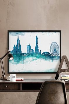 Chicago print Chicago watercolor skyline Chicago by iPrintPoster