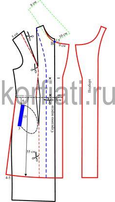 Выкройка короткого пальто - моделирование переда