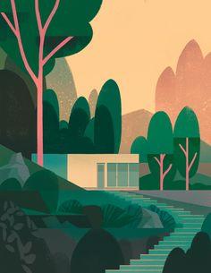 'House in the forest' by mark boardman - illustration from. Forest Illustration, House Illustration, Simple Illustration, Landscape Illustration, Graphic Design Illustration, Digital Illustration, Pop Art, Environmental Art, Pixel Art