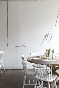 DIY: Black Electrical Cord as Wall Decor from L'Ouvrier