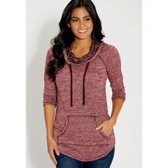 maurices Marled French Terry Hooded Pullover ($34) ❤ liked on Polyvore featuring tops, hoodies, lipstick red, red hoodies, long sleeve pullover shirts, shirt hoodies, long sleeve pullover and hooded shirt