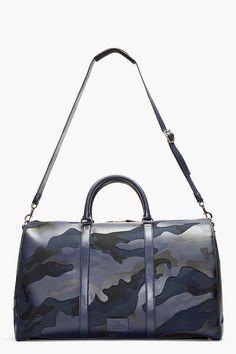 VALENTINO Navy Camo Print Leather Boston Duffle Bag