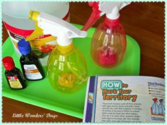 """Science game about """"Marking Your Territory"""".  Kids mark a spot outside with a homemade scent (ie, vinegar,mint, coffee etc) then other kid/mom has to find their """"territory""""    From   Little Wonder Days"""