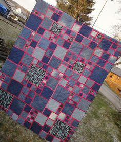 By tubakk-quilt - made from all pink scraps & old jeans