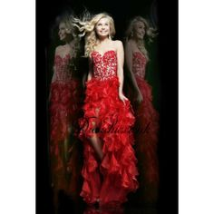 Red Lace Sweetheart High Low Prom Dress