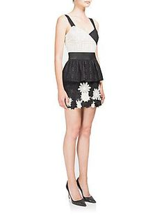 emanuel ungaro Eyelet & Floral-Appliqué Mini Dress - Ivory -