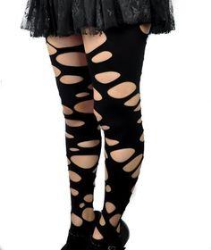 Women's Rip Torn Gothic Black Tights