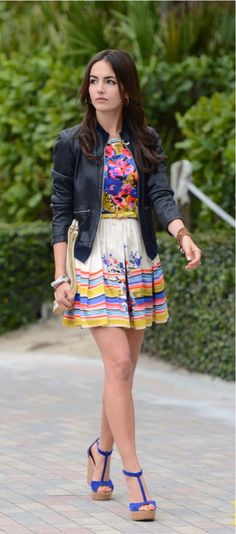 Blue/ yellow/ pink/ white floral dress + leather jacket + blue heels