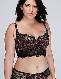 Cacique Floral Longline French Balconette Bra with Lace