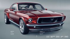 This 1967 Mustang electric car may be faster than a Tesla Model S, but it is merely a concept at this point. However, it's out of the box specs, which almost mirror the Tesla Model S, and its beaut… Ford Mustang Fastback, Ford Mustangs, Classic Mustang, Ford Classic Cars, Tesla Model S, Old Ford Pickups, Vmax, Mustang Interior, Ford Courier