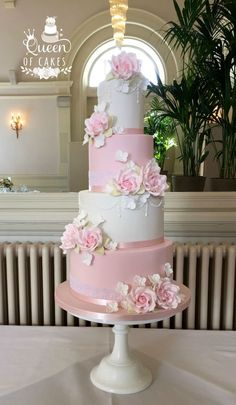 Pink and White Angel Wedding Cake. Serves 130 guests