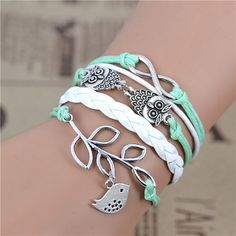 Leather Charm Bracelet Infinity, Owl and Bird On Sale