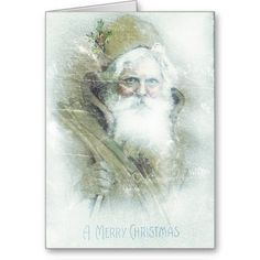 Frosted vintage Santa Claus Greeting Card: greeting card, note card, christmas card, merry christmas, seasons greetings, holiday greeting card, winter