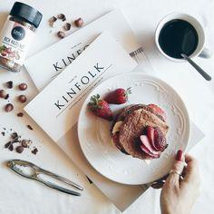 Kinfolk Magazine, pancakes, strawberries, hazelnuts & black coffee. Weekend breakfast heaven.