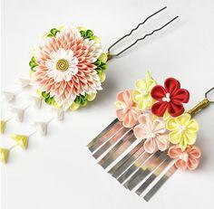 Kimono hair accessories - kanzashi - for a tween program - test a design with paper
