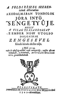 The title page (in Hungarian language). Miclos Kis, Kolozsvár. 1699.